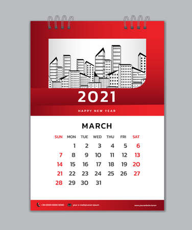 March month template, Desk Calendar 2021 Creative design can be place photo and logo, Week starts on Sunday, vector for calendar 2021 template, Red gradient background