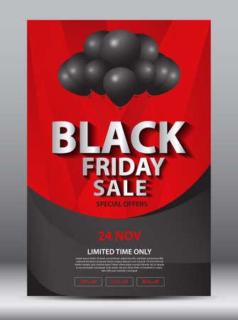 Black Friday Sale Promotion Poster, flyer or banner vector illustration, discont card, marketing brochure design