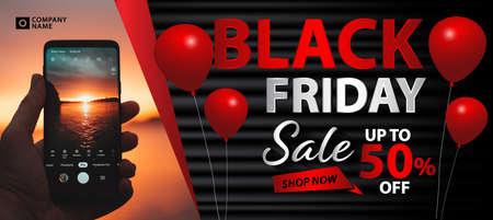 Black Friday  cover design. Red sale banner, ads, banner social media, vector illustration