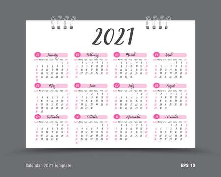 Calendar 2021 template vector , 12 months yearly calendar set in 2021, business brochure flyer, printing, advertisement, Simple design, wall calendar layout Çizim