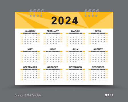 Calendar 2024 template vector , 12 months yearly calendar set in 2024, business brochure flyer, printing, advertisement, Simple design, wall calendar layout