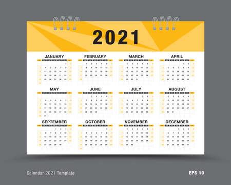 Calendar 2021 template vector , 12 months yearly calendar set in 2021, business brochure flyer, printing, advertisement, Simple design, wall calendar layout