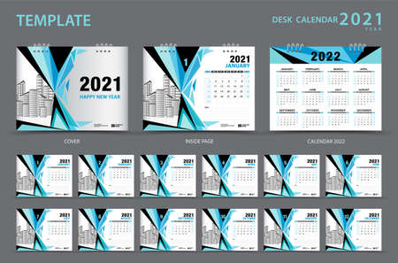Calendar 2021 template creative design vector, Desk calendar 2021 design. Calendar 2022. Set of 12 Months. Planner. Week starts on Sunday. wall calendar. advertisement. blue polygon backround.