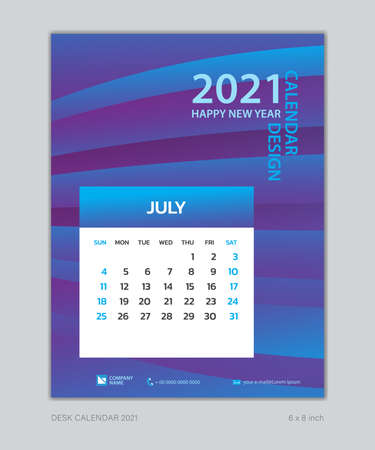 Calendar 2021 template, July, Desk Calendar for 2021 year, week start on sunday, planner design, wall calendar, Poster, flyer, stationery, printing, vertical page, Blue Gradient background