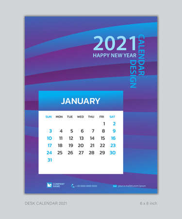 Calendar 2021 template, January, Desk Calendar for 2021 year, week start on sunday, planner design, wall calendar, Poster, flyer, stationery, printing, vertical page, Blue Gradient background Çizim