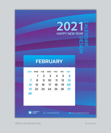 Calendar 2021 template, February, Desk Calendar for 2021 year, week start on sunday, planner design, wall calendar, Poster, flyer, stationery, printing, vertical page, Blue Gradient background Çizim