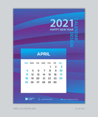 Calendar 2021 template, April, Desk Calendar for 2021 year, week start on sunday, planner design, wall calendar, Poster, flyer, stationery, printing, vertical page, Blue Gradient background Çizim