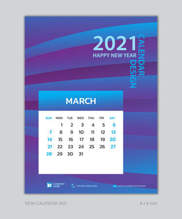 Calendar 2021 template, March, Desk Calendar for 2021 year, week start on sunday, planner design, wall calendar, Poster, flyer, stationery, printing, vertical page, Blue Gradient background