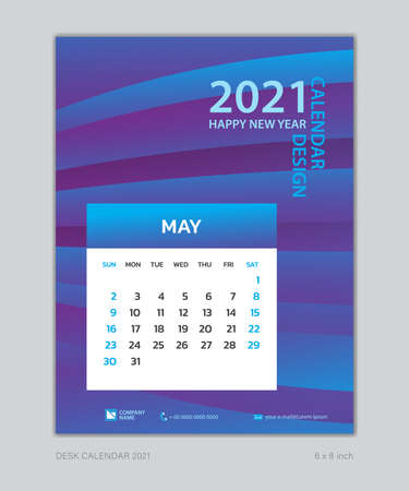 Calendar 2021 template, May, Desk Calendar for 2021 year, week start on sunday, planner design, wall calendar, Poster, flyer, stationery, printing, vertical page, Blue Gradient background