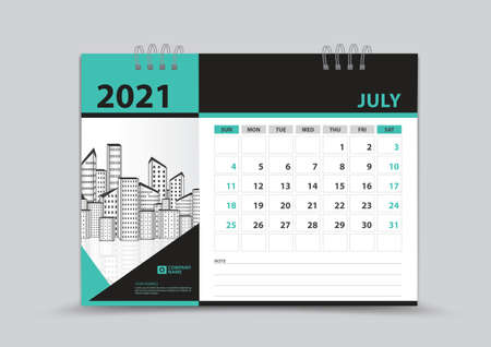 Calendar 2021 template design, July Page vector, Week starts on Sunday, Monthly planner for 2021 year, wall calendar, business organizer planner, Green abstract background