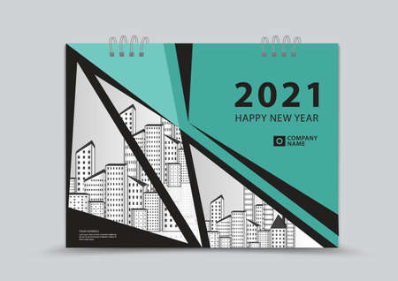 Cover Calendar 2021 template design, Business flyer, book cover, Green abstract background, vector illustration
