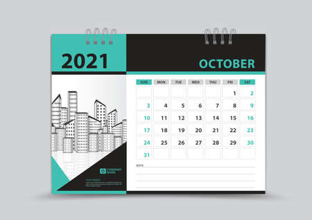Calendar 2021 template design, October Page vector, Week starts on Sunday, Monthly planner for 2021 year, wall calendar, business organizer planner, Green abstract background