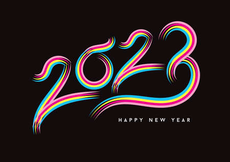2023 happy new year celebration, Typography text 2023 font, text lettering 2023, holidays, Calendar 2023 cover template, Creative design for Greeting Lettering, vector illustration Çizim