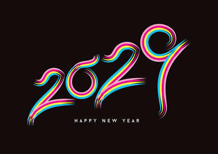 2029 happy new year celebration, Typography text 2029 font, text lettering 2029, holidays, Calendar 2029 cover template, Creative design for Greeting Lettering, vector illustration Çizim