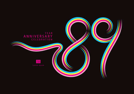 89 years anniversary celebration logotype colorful line vector, 89th birthday logo, 89 number, Banner template, vector design template elements for invitation card and poster. Çizim