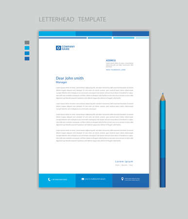 Letterhead template design minimalist Style vector, letterhead design mockup, letterhead for business advertisement layout, Blue concept background creative design
