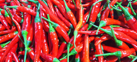 bright red chili peppers for sale in market, vegetable