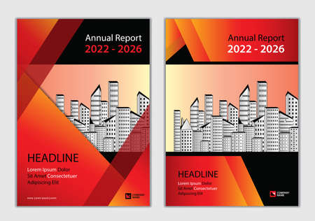 Annual report Cover design 2022-2026 template, Brochure Cover design, business brochure flyer, book cover, advertisement, Magazine, Poster, Corporate Presentation, Red abstract background, vector Çizim