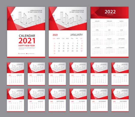 Wall Calendar 2021 template set, Calendar 2022 design, Red Cover design. Week Starts on Sunday, Set of 12 Months, Desk calendar 2021 design, Planner. red abstract background, minimal style, Vertical.