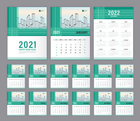 Wall Calendar 2021 template set, Calendar 2022 design, Green Cover design. Week Starts on Sunday, Set of 12 Months, Desk calendar 2021 design, Planner, Green abstract background, minimal style, Vertical.