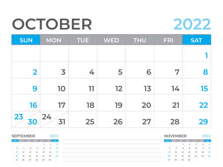 October 2022 page, Calendar 2022 template, Desk calendar, planner design, Wall calendar, week starts on sunday, stationery design, Desk office, organizer office, vector
