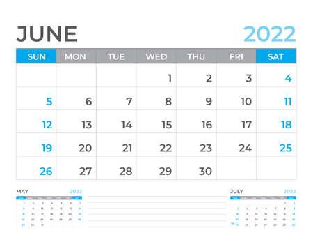 June 2022 page, Calendar 2022 template, Desk calendar, planner design, Wall calendar, week starts on sunday, stationery design, Desk office, organizer office, vector