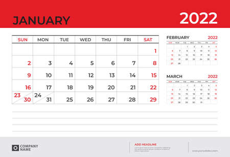 Desk Calendar 2022 design, January 2022 template, week start on sunday, Planner design, Wall calendar layout, stationery, Desk office, organizer office, vector