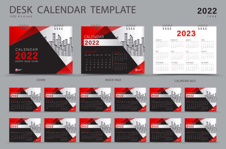 Desk calendar 2022 Set template and Calendar 2023 layout
