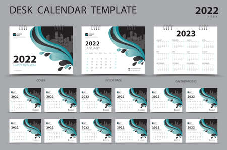 Desk calendar 2022 Set template and Calendar 2023 layout, Set of 12 Months, Planner, Week starts on Sunday, Stationery design, Wall calendar 2022 year, printing, advertisement, green cover design, vector Çizim