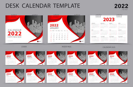 Desk calendar 2022 Set template and Calendar 2023 layout, Set of 12 Months, Planner, Week starts on Sunday, Stationery design, Wall calendar 2022 year, printing, advertisement, Red cover design, vector 일러스트