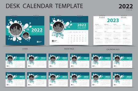 Desk calendar 2022 Set template and Calendar 2023 layout, Set of 12 Months, Planner, Week starts on Sunday, Stationery design, Wall calendar 2022 year, printing, advertisement, Green cover design, vector