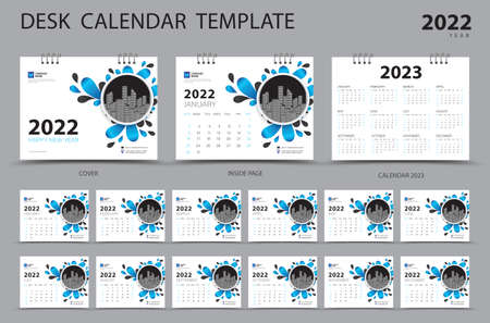 Desk calendar 2022 Set template and Calendar 2023 layout, Set of 12 Months, Planner, Week starts on Sunday, Stationery design, Wall calendar 2022 year, printing, advertisement, Blue cover design, vector