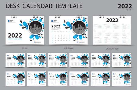 Desk calendar 2022 Set template and Calendar 2023 layout, Set of 12 Months, Planner, Week starts on Sunday, Stationery design, Wall calendar 2022 year, printing, advertisement, Blue cover design, vector 版權商用圖片 - 166590633