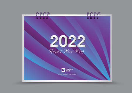 Cover desk calendar 2022 year template vector illustration, corporate design, Business flyer, brochure cover, blue and purple abstract background, Annual report cover, creative idea 向量圖像