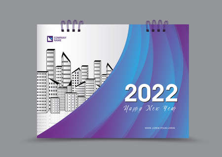 Cover desk calendar 2022 year template vector illustration, corporate design, Business flyer, brochure cover, blue and purple abstract background, Annual report cover, creative idea 일러스트