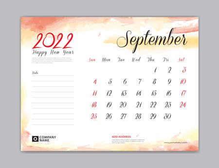Calendar 2022 template, Desk Calendar 2022 template, September month design, week start on sunday, Wall calendar, planner, stationery, Printing template, organizer office, Red watercolor background, vector