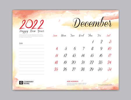 Calendar 2022 template, Desk Calendar 2022 template, December month design, week start on sunday, Wall calendar, planner, stationery, Printing template, organizer office, Red watercolor background, vector 向量圖像