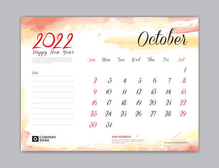 Calendar 2022 template, Desk Calendar 2022 template, October month design, week start on sunday, Wall calendar, planner, stationery, Printing template, organizer office, Red watercolor background, vector