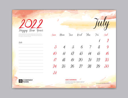 Calendar 2022 template, Desk Calendar 2022 template, July month design, week start on sunday, Wall calendar, planner, stationery, Printing template, organizer office, Red watercolor background, vector