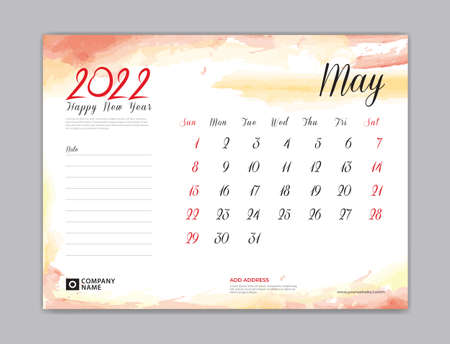 Calendar 2022 template, Desk Calendar 2022 template, May month design, week start on sunday, Wall calendar, planner, stationery, Printing template, organizer office, Red watercolor background, vector
