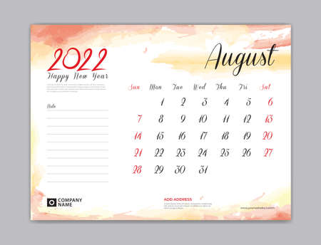 Calendar 2022 template, Desk Calendar 2022 template, August month design, week start on sunday, Wall calendar, planner, stationery, Printing template, organizer office, Red watercolor background, vector 일러스트
