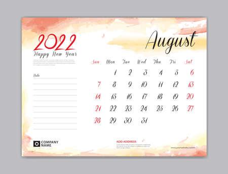 Calendar 2022 template, Desk Calendar 2022 template, August month design, week start on sunday, Wall calendar, planner, stationery, Printing template, organizer office, Red watercolor background, vector 向量圖像