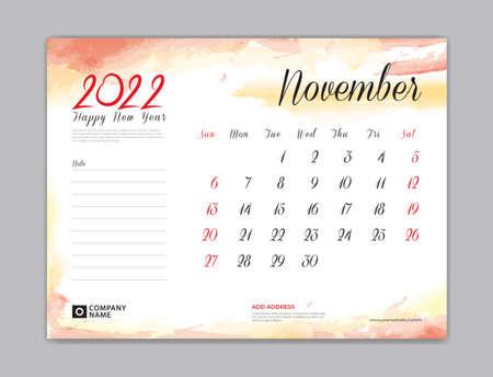 Calendar 2022 template, Desk Calendar 2022 template, November month design, week start on sunday, Wall calendar, planner, stationery, Printing template, organizer office, Red watercolor background, vector 向量圖像