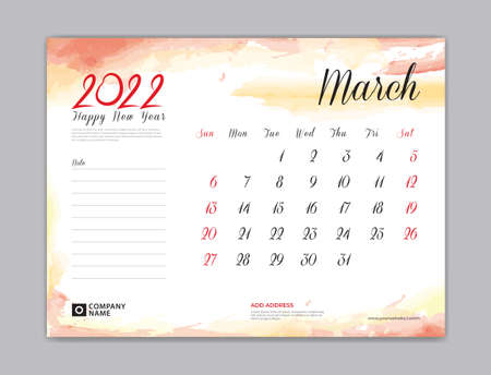 Calendar 2022 template, Desk Calendar 2022 template, March month design, week start on sunday, Wall calendar, planner, stationery, Printing template, organizer office, Red watercolor background, vector