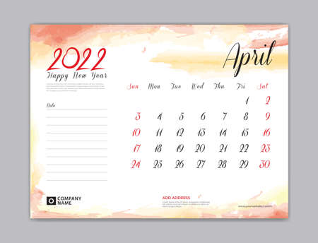 Calendar 2022 template, Desk Calendar 2022 template, April month design, week start on sunday, Wall calendar, planner, stationery, Printing template, organizer office, Red watercolor background, vector