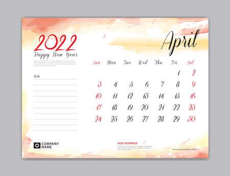 Calendar 2022 template, Desk Calendar 2022 template, April month design, week start on sunday, Wall calendar, planner, stationery, Printing template, organizer office, Red watercolor background, vector 版權商用圖片 - 167141620