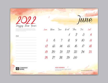 Calendar 2022 template, Desk Calendar 2022 template, June month design, week start on sunday, Wall calendar, planner, stationery, Printing template, organizer office, Red watercolor background, vector