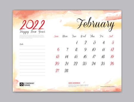 Calendar 2022 template, Desk Calendar 2022 template, February month design, week start on sunday, Wall calendar, planner, stationery, Printing template, organizer office, Red watercolor background, vector 向量圖像