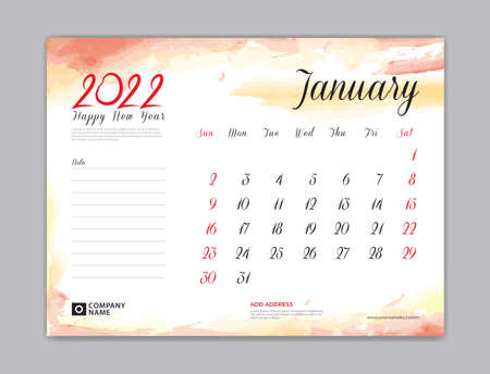 Calendar 2022 template, Desk Calendar 2022 template, January month design, week start on sunday, Wall calendar, planner, stationery, Printing template, organizer office, Red watercolor background, vector