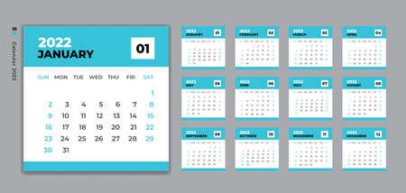Calendar 2022 template vector, Desk Calendar design, Wall calendar, Week Starts on Sunday. Set of 12 Months, planner 2022 template, Blue background, 向量圖像